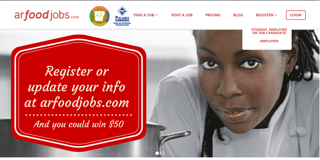 Job candidate woman chef leaning near pot, caption register or update your info to win $50